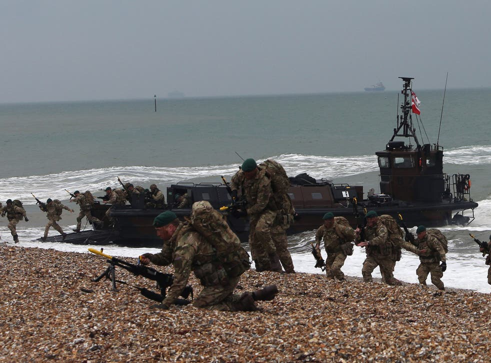 Royal Marines during a landing exercise in Gosport, in 2015