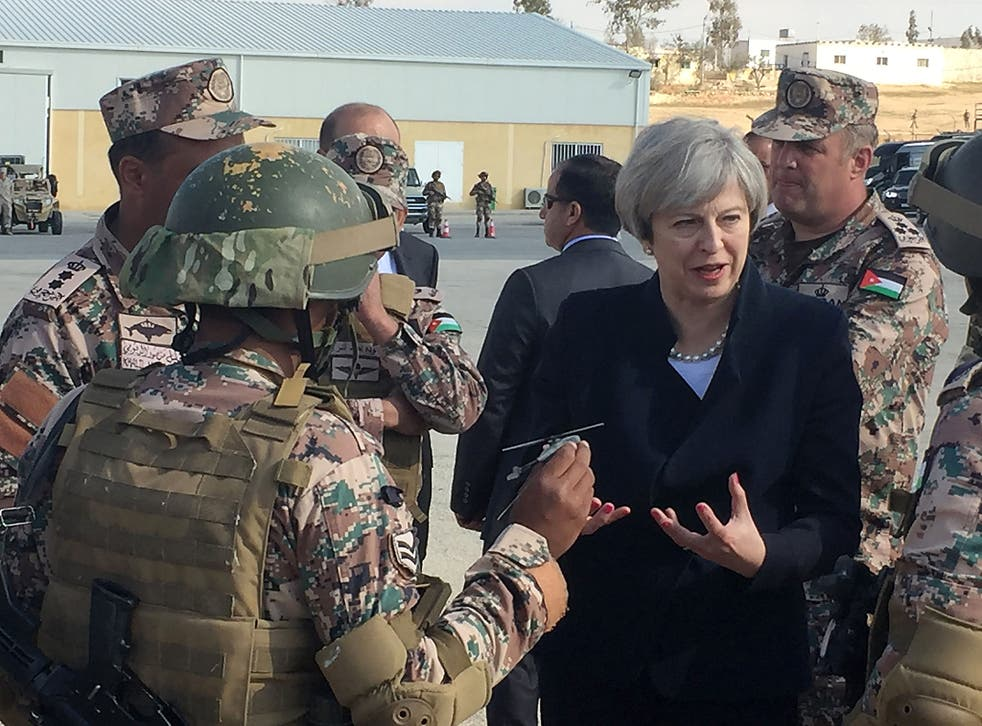 Theresa May speaks to troops in Amman, Jordan, last week. Her decision to back US military action in the Middle East is far more complex than the one taken by Tony Blair more than a decade earlier