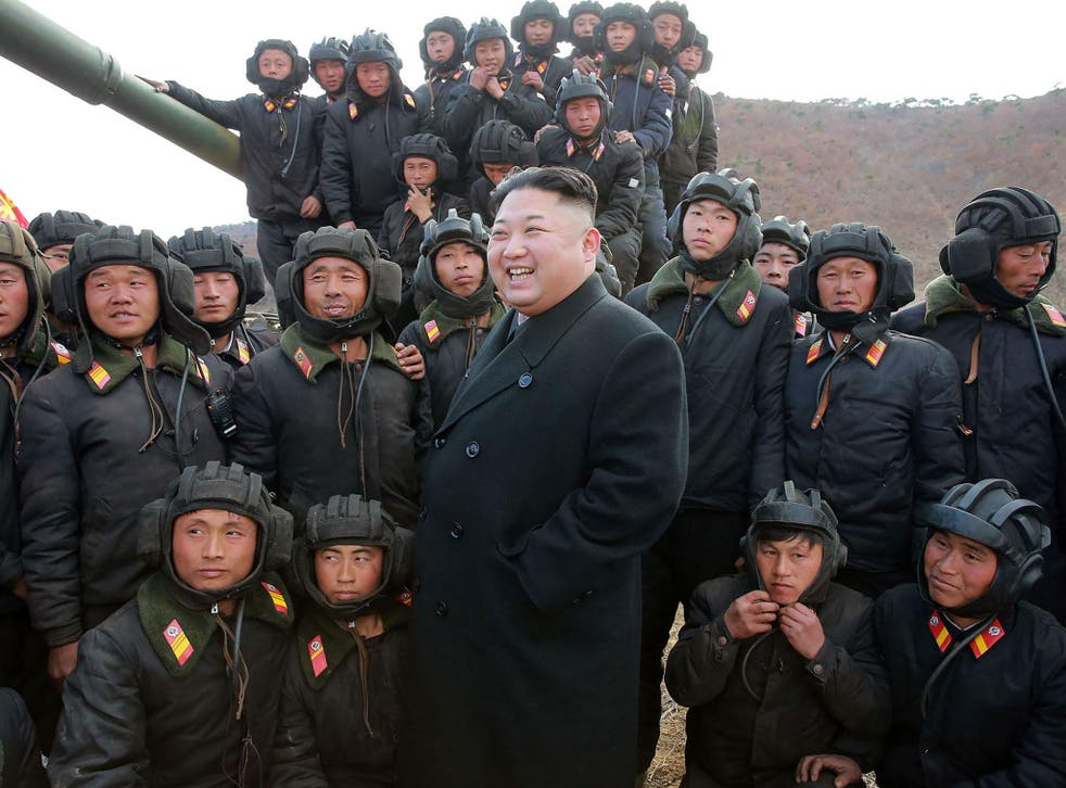 North Korean leader Kim Jong-Un inspecting the Korean People's Army Tank Crews' Competition-2017 at an undisclosed location