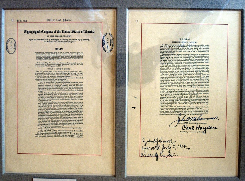 The actual Title VII of the Civil Rights Act of 1964 document on display in the East Room of the White House in Washington, DC