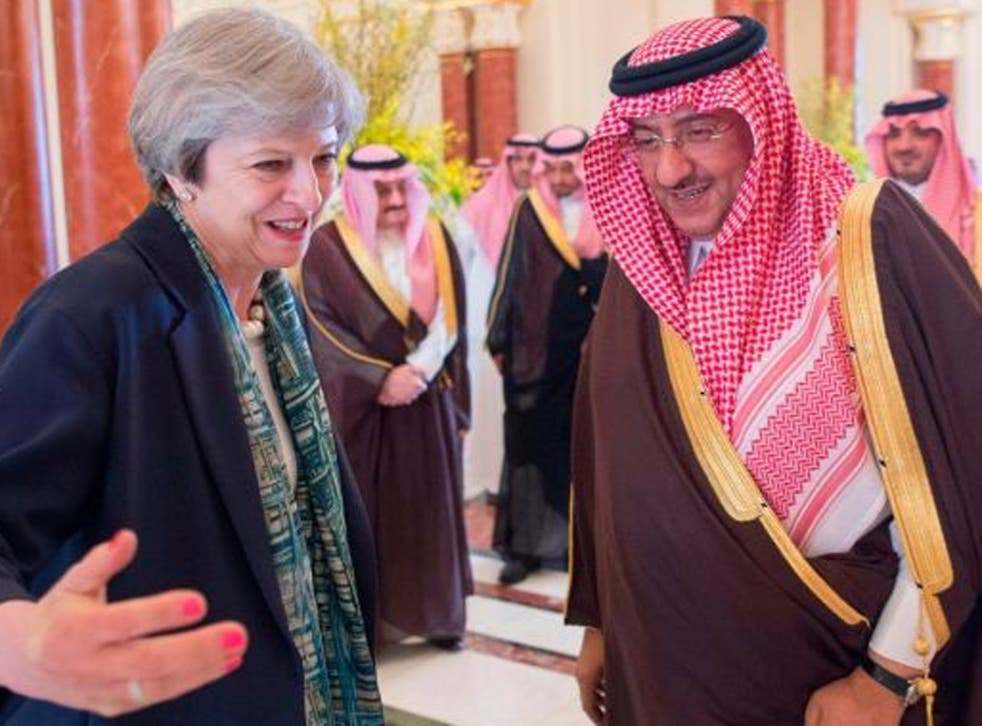 Theresa May with Saudi Crown Prince Muhammad bin Nayef in Riyadh on Wednesday