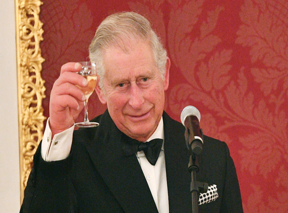 Prince Charles makes a toast during the three-country tour