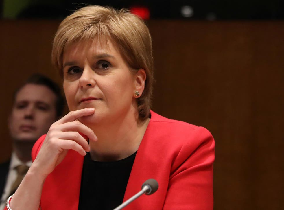 Scotland's First Minister Nicola Sturgeon waits to speak at a conference at the United Nations Headquarters in New York City