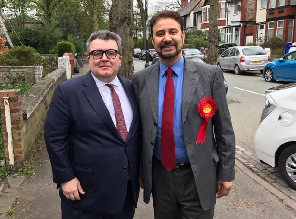 Afzal Khan (right) pictured Labour deputy leader Tom Watson on the campaign trail in Manchester Gorton on Thursday as news of the controversy first emerged