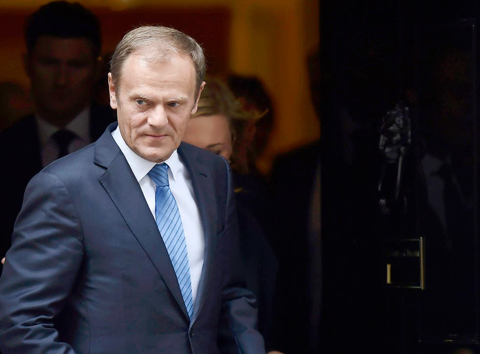 Donald Tusk, the President of the European Council, leaves after meeting Britain's Prime Minister, Theresa May inside 10 Downing Street