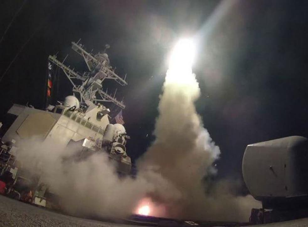 The US Navy of USS Porter fires a tomahawk land attack missile from the Mediterranean Sea, as the world mostly welcomed American strikes on Syrian government targets