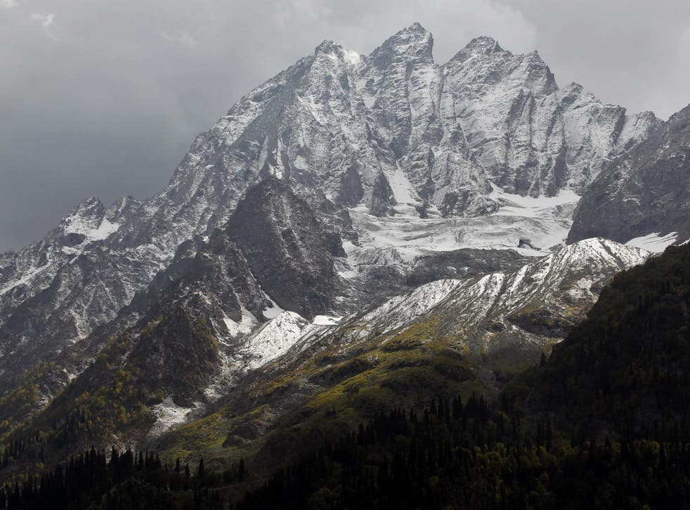 Snow-covered mountain peaks in the heart of Kashmir