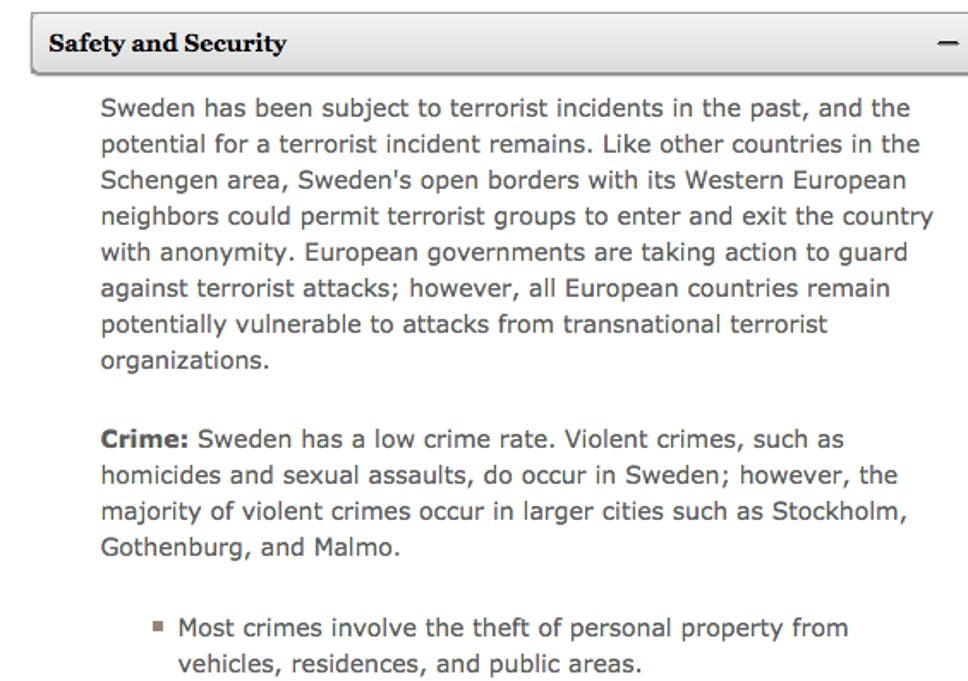 Stockholm terror: US warned of possible attacks in Sweden and elsewhere. '