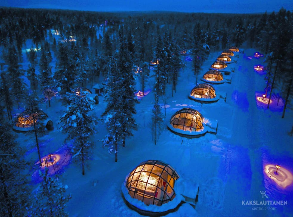 The glass roof igloos at the Kakslauttanen Resort, Finland