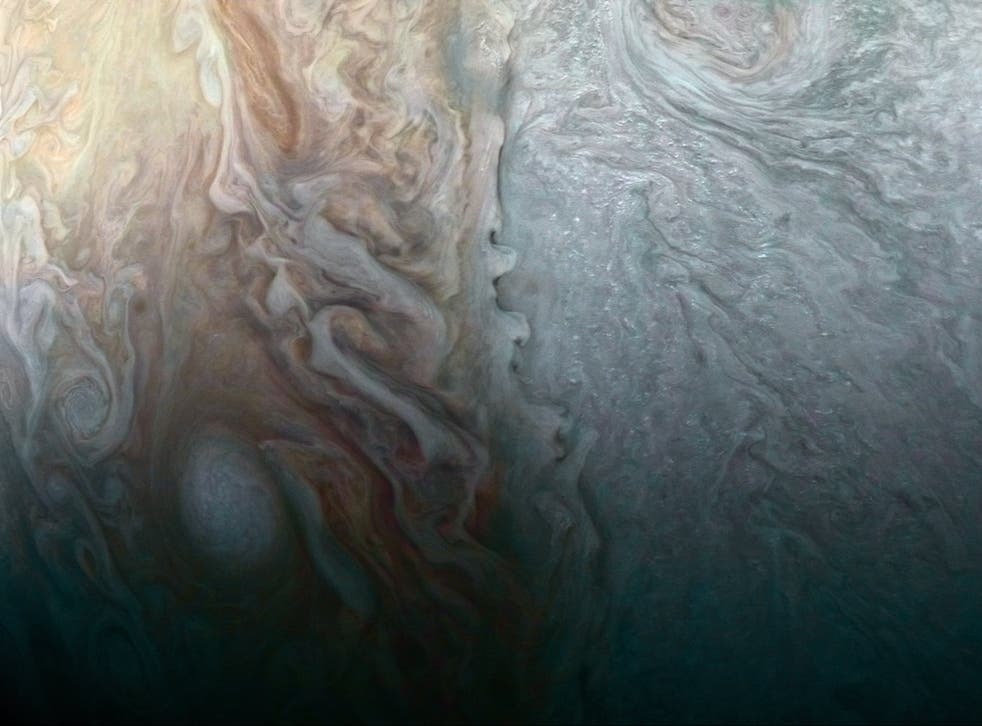 This image of Jupiter was taken late last month as the Juno spacecraft performed a close flyby of the planet