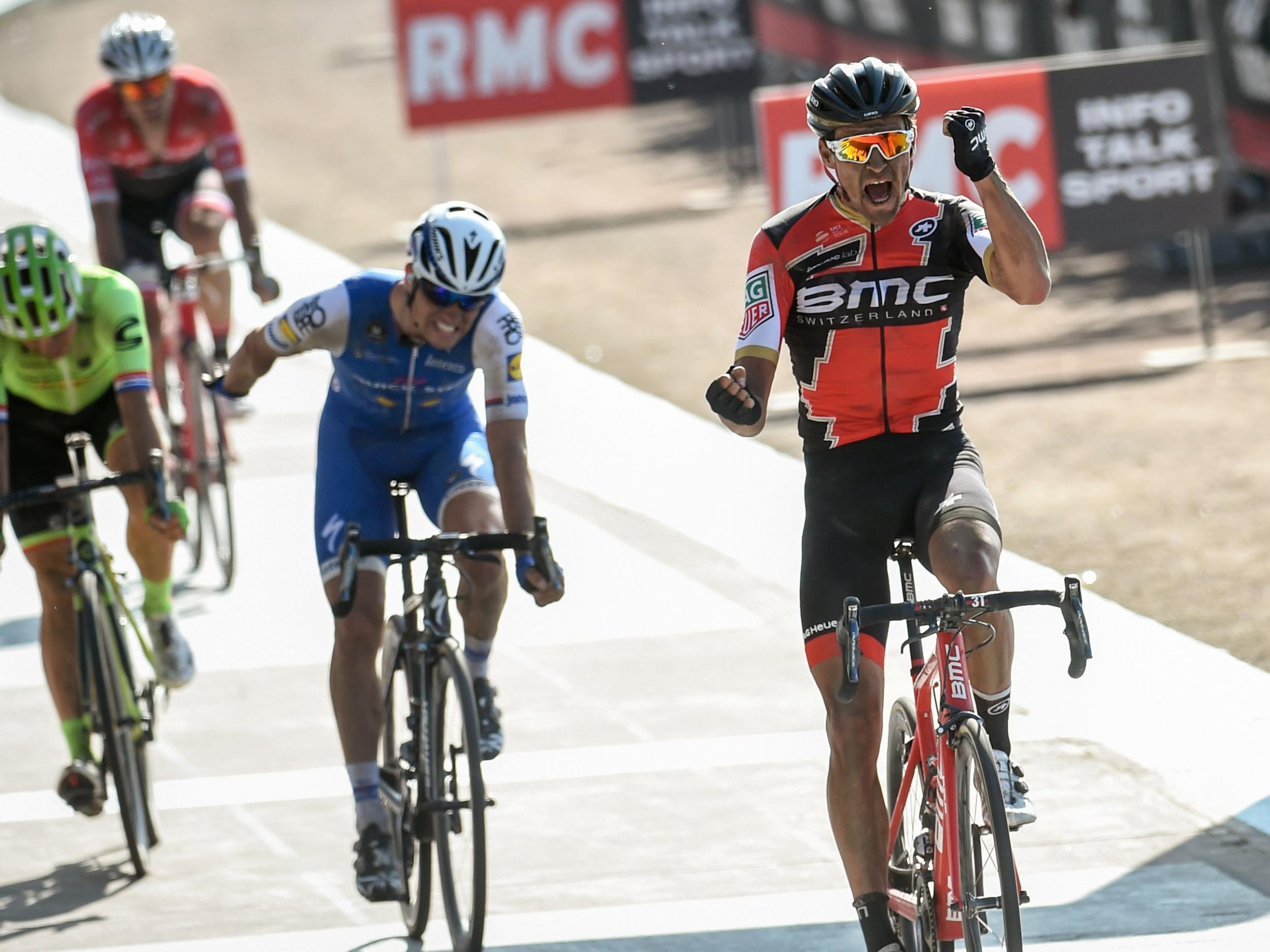Greg Van Avermaet overtakes Zdenek Stybar just before the line to ... d14dc466d