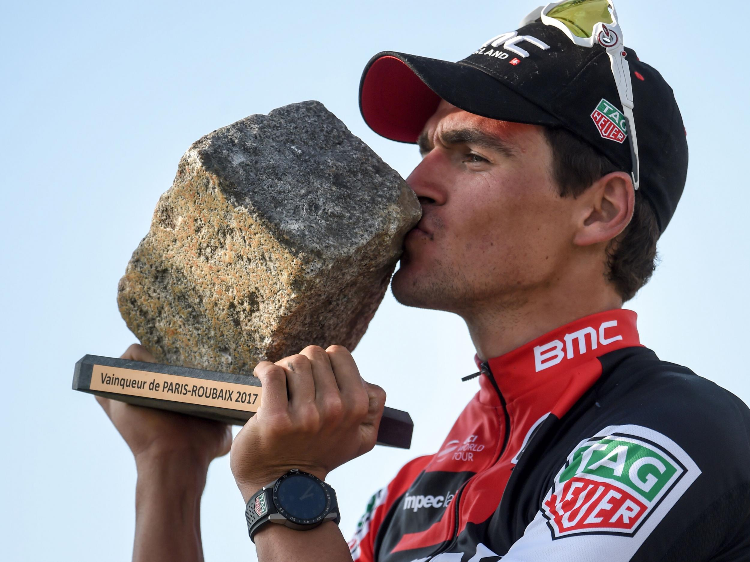 Greg Van Avermaet overtakes Zdenek Stybar just before the line to win fastest ever Paris-Roubaix classic