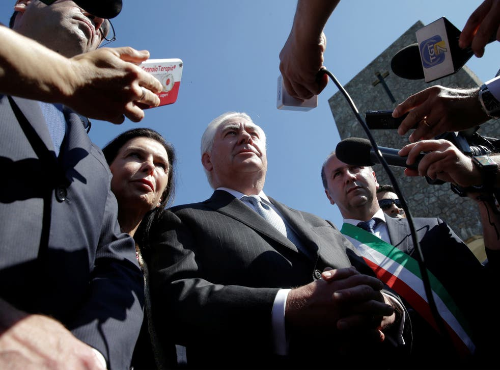 Rex Tillerson talks to reporters during a ceremony dedicated to the victims of the massacre committed in the village of Sant'Anna di Stazzema by the Nazis in 1944