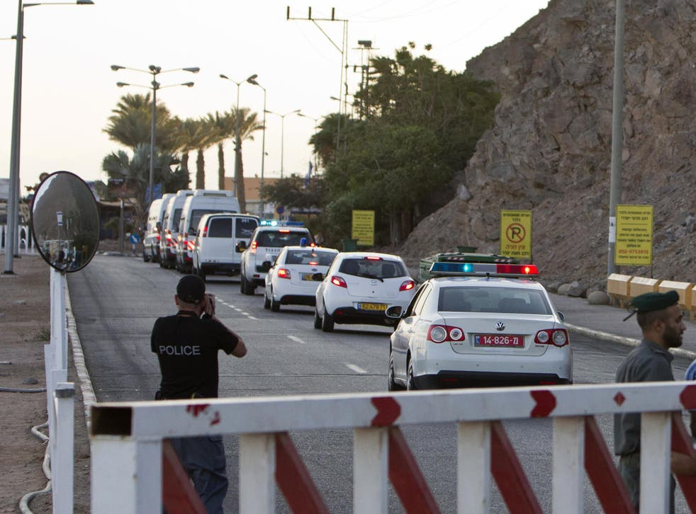 A convoy crossing the Egyptian Red Sea at Taba
