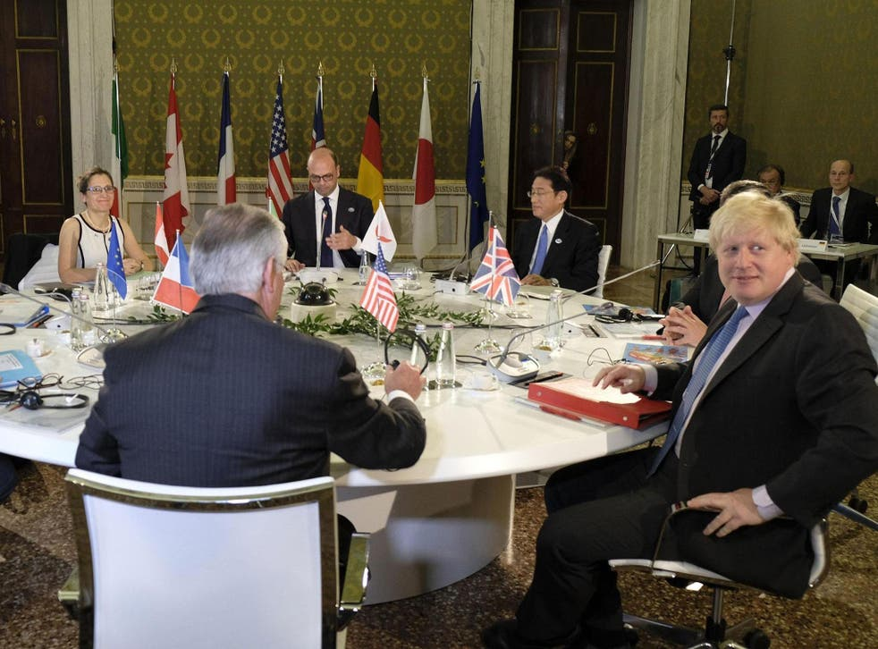 The Foreign Secretary was due to push sanctions on fellow G7 leaders at a meeting on Monday evening