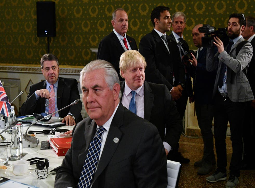 Boris Johnson with his German and American counterparts on the second day of a meeting of G7 foreign ministers