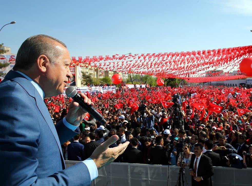 President Erdogan addresses a referendum rally in Sanliurfa, south-eastern Turkey, on Tuesday