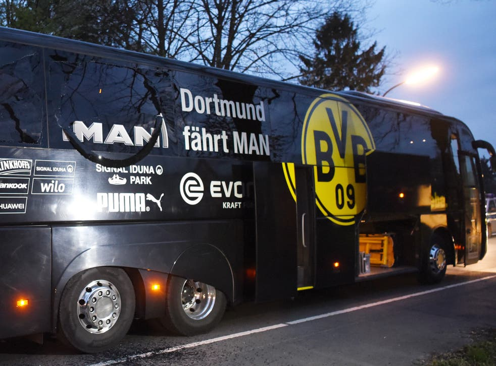 Dortmund's bus was attacked upon leaving their team hotel on Tuesday