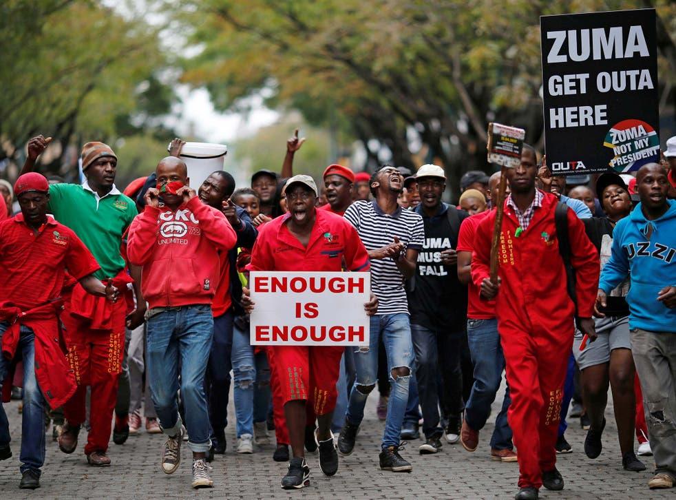 Thousands gathered in Pretoria to demand President Zuma steps down