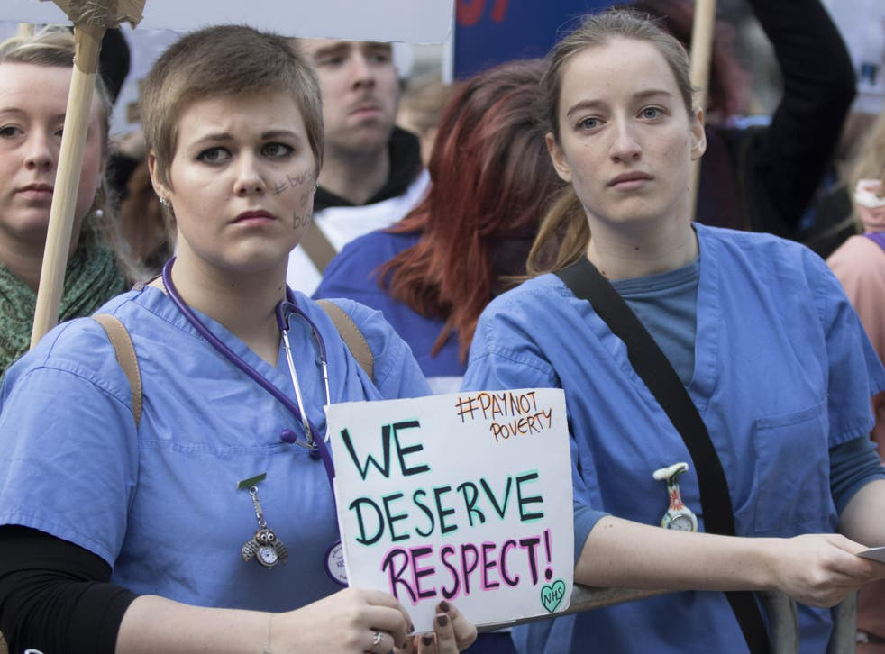 Student nurses and midwives protest for better pay at a 2015 rally
