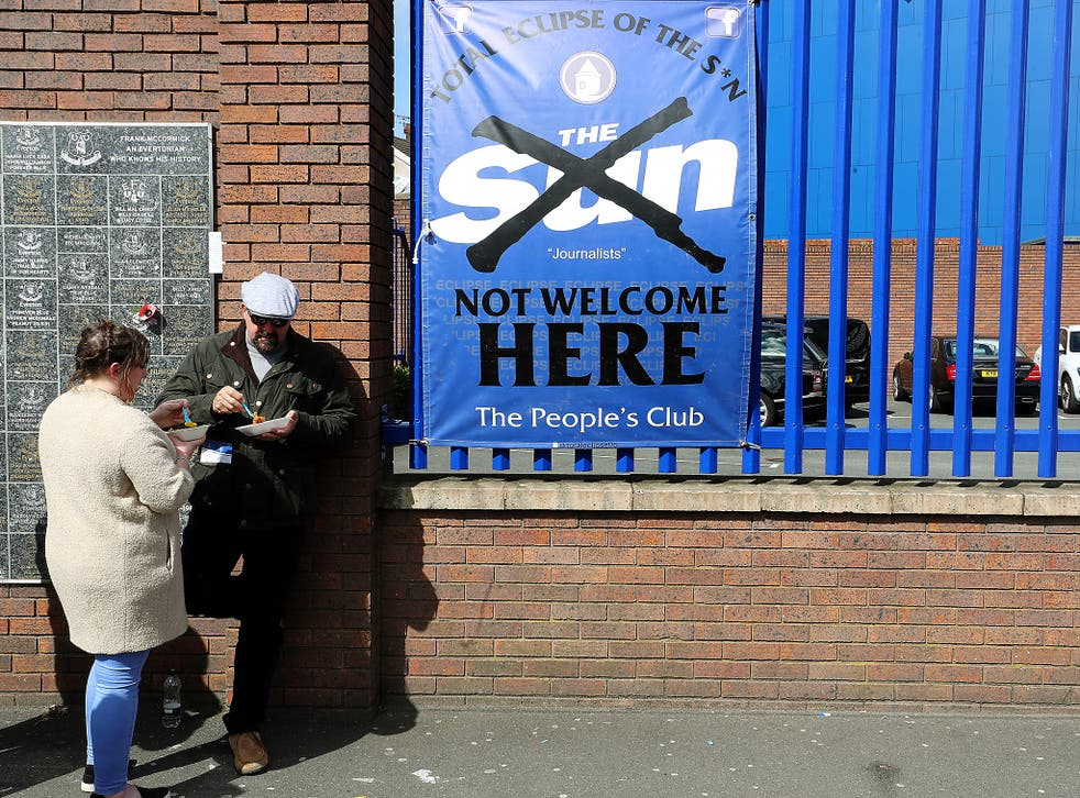 An anti-Sun sign outside Goodison Park, Everton's home ground