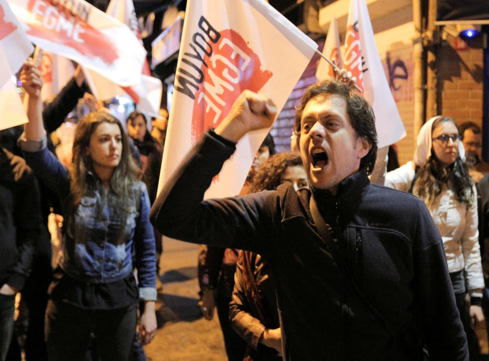 """Protests against the results of the referendum in Istanbul, which voted """"No"""""""