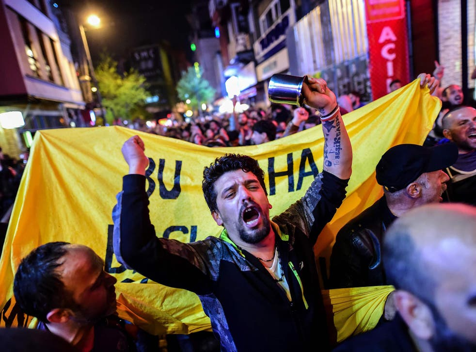 Supporters of 'No' gather in Istanbul to protest following the referendum