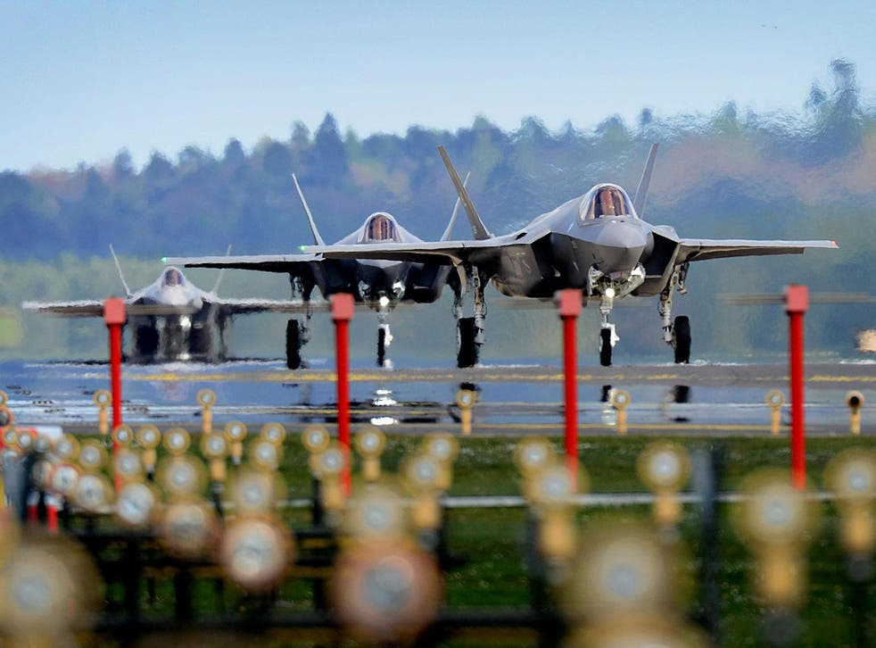 F-35A jets from Hill Air Force Base in Utah land at RAF Lakenheath