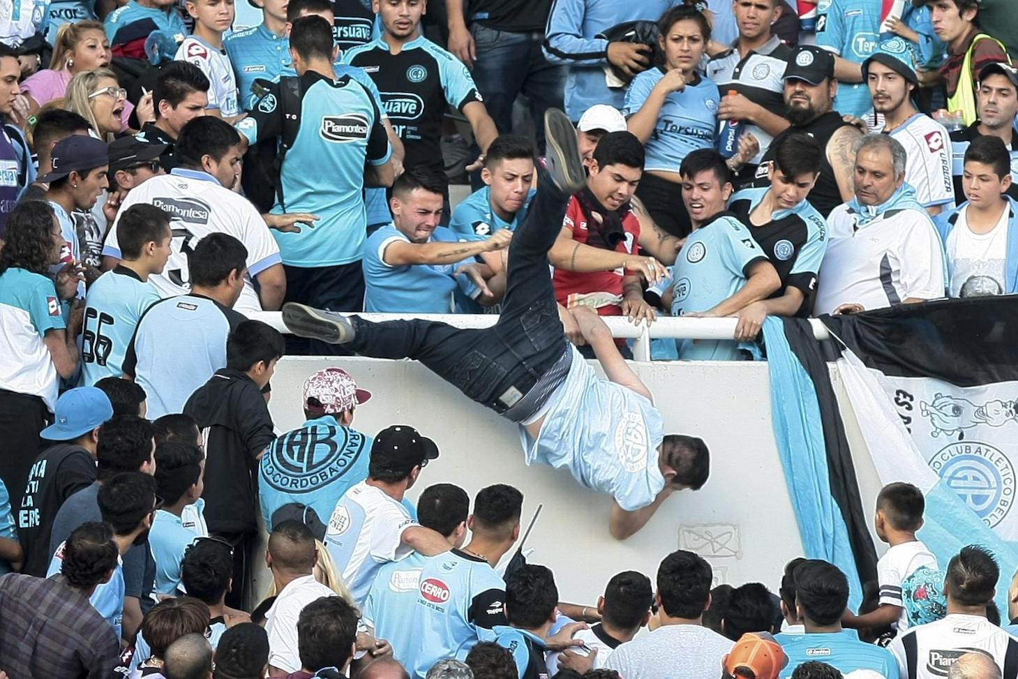 Man dies after Argentina football crowd pushed him off stand mistaking him for rival fan