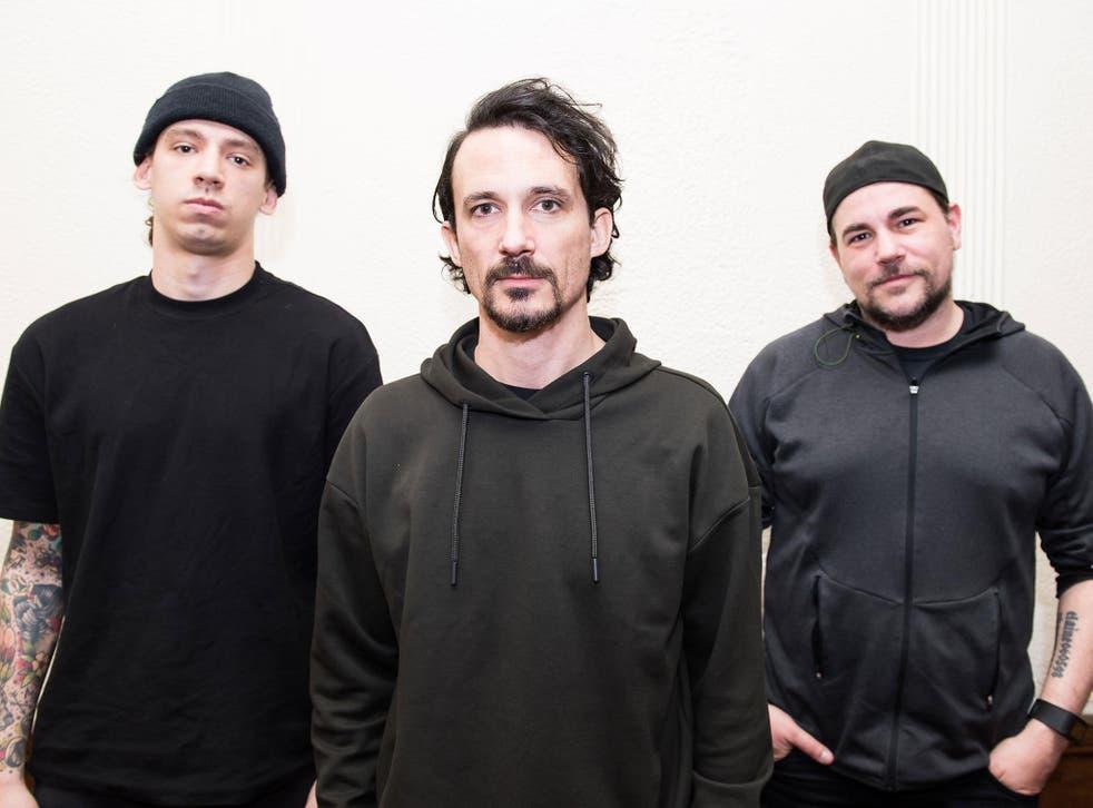 Jami Morgan (Code Orange), Joe Duplantier (Gojira) and Michael Dafferner (Car Bomb) photographed for The Independent