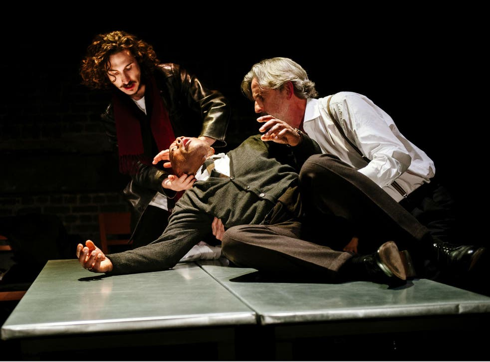 Billy Postlethwaite as Rambert, Burt Caesar as Grand and Martin Turner as Tarrou in 'The Plague' at the Arcola Theatre