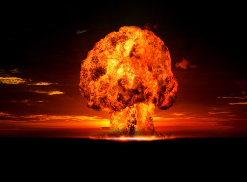 A mushroom cloud from a nuclear explosion