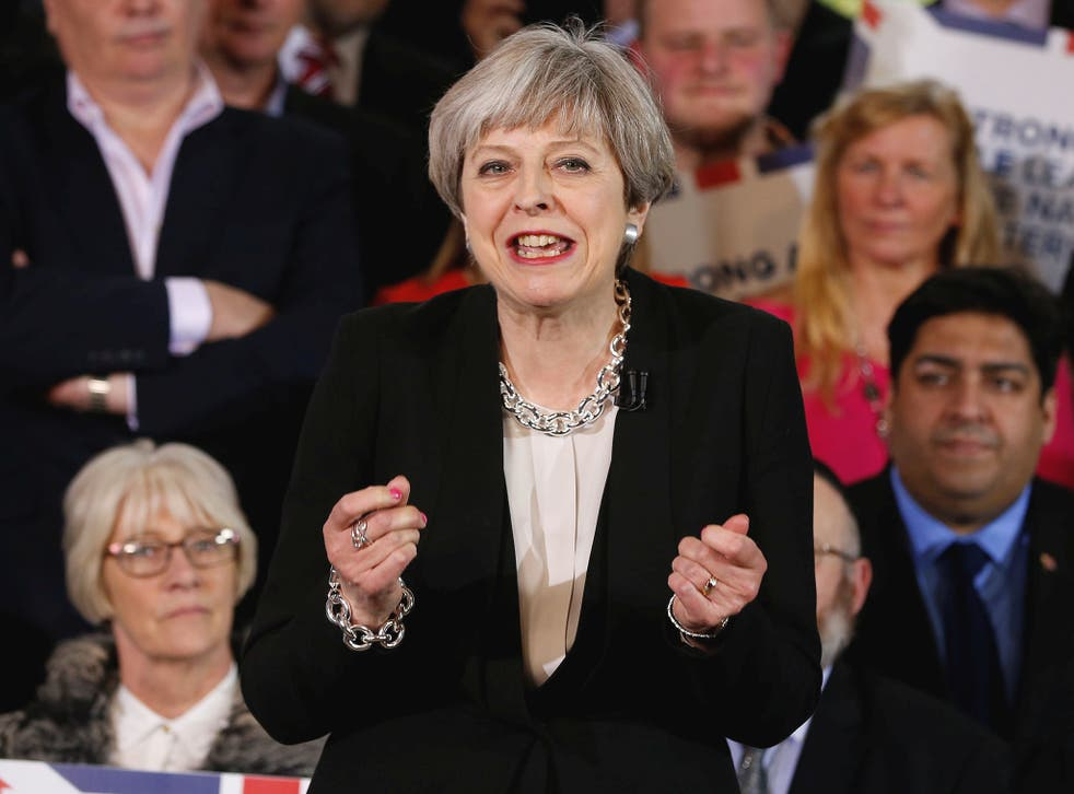 Prime Minister Theresa May delivers a speech in Walmsley Parish Hall, Bolton