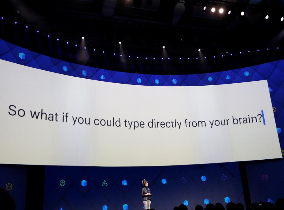 Regina Dugan, vice president of engineering of Building 8 at Facebook, speaks on stage during the second day of the annual Facebook F8 developers conference in San Jose