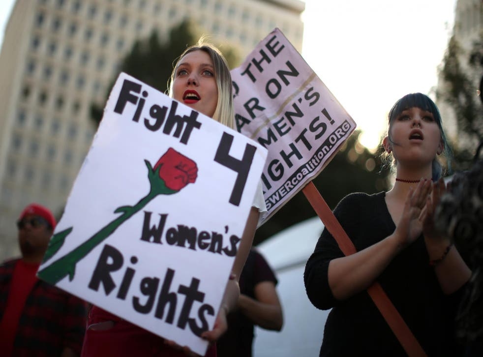Protesters at an International Women's Day event in Los Angeles in March