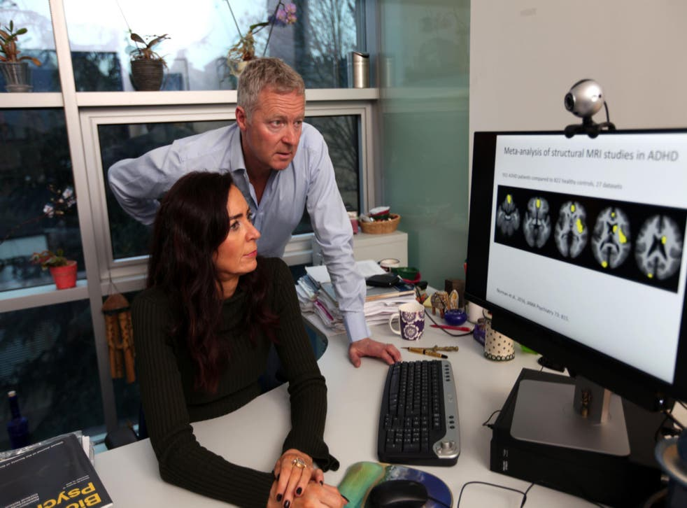 Rory Bremner with Professor Katya Rubia, examining scan images of the Bremner brain for signs of concentration