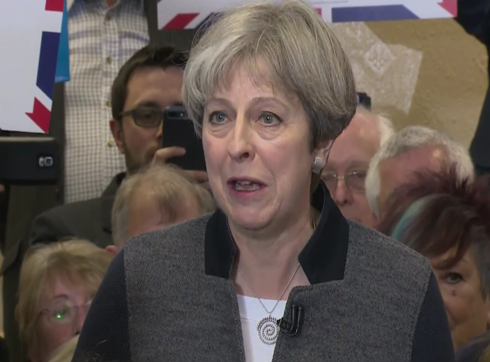 Theresa May campaigning in Dudley