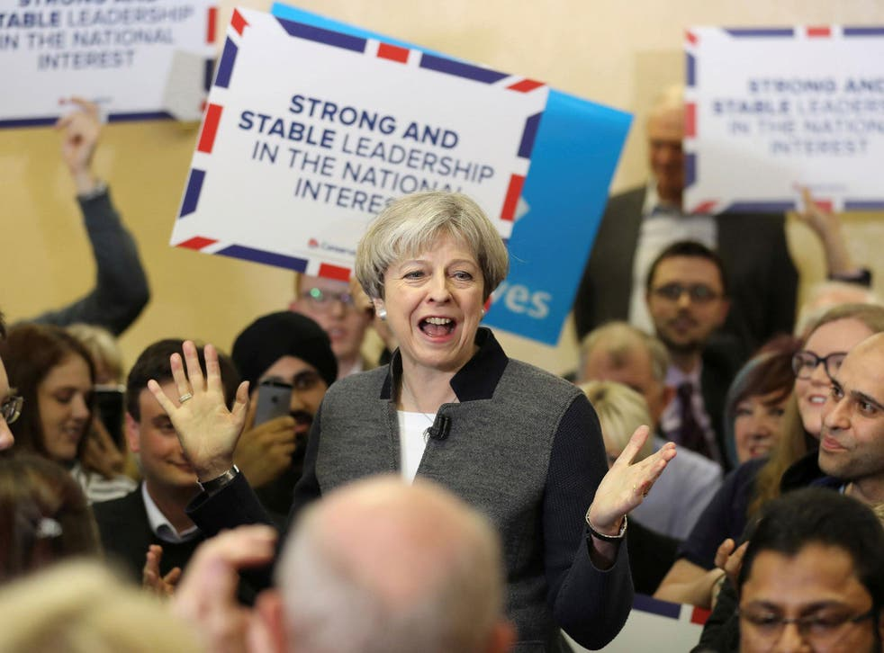 Ms May repeatedly urged voters to choose a 'strong and stable government'