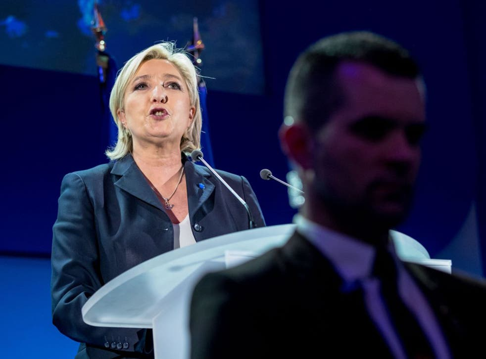 A triumphant Marine Le Pen addresses her supporters in northern France on Sunday