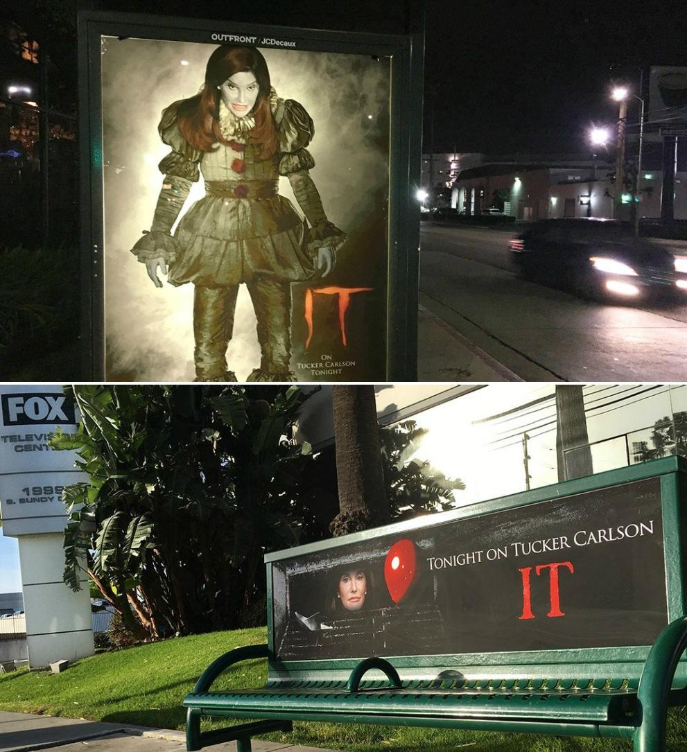 'LA's only right wing street artist' puts Caitlyn Jenner in It the Clown adverts around Hollywood