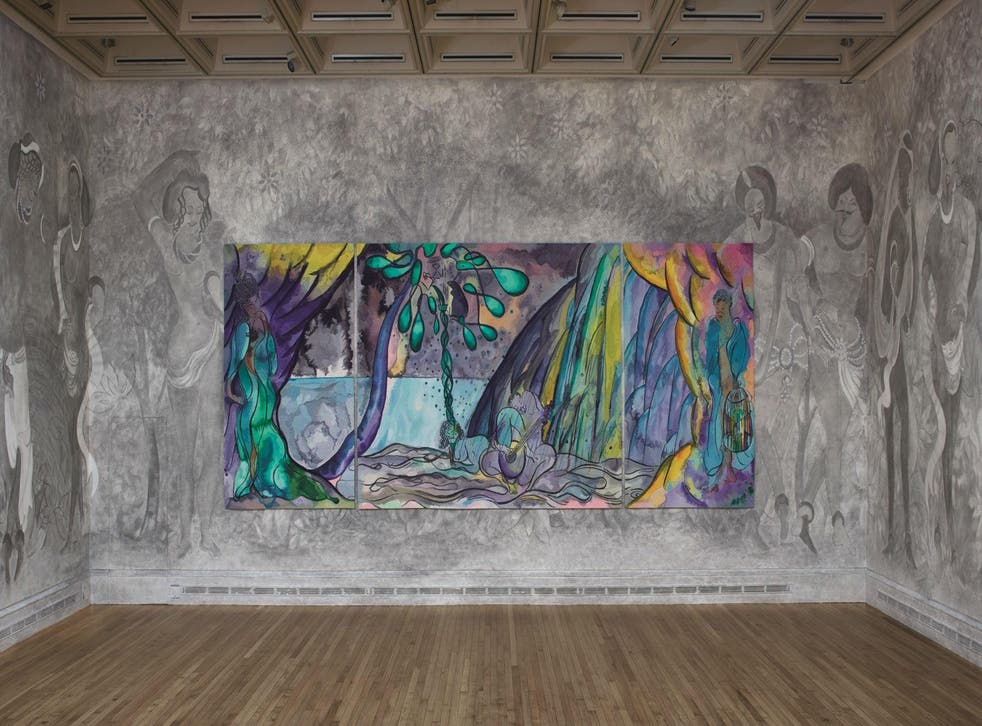 Installation view, 'Chris Ofili: Weaving Magic' at the National Gallery
