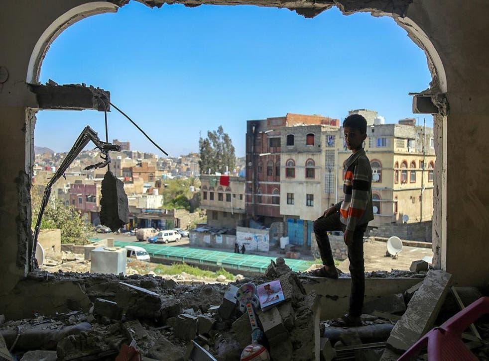 Scene of destruction after a mortar shell hits city of Taiz in Yemen last year