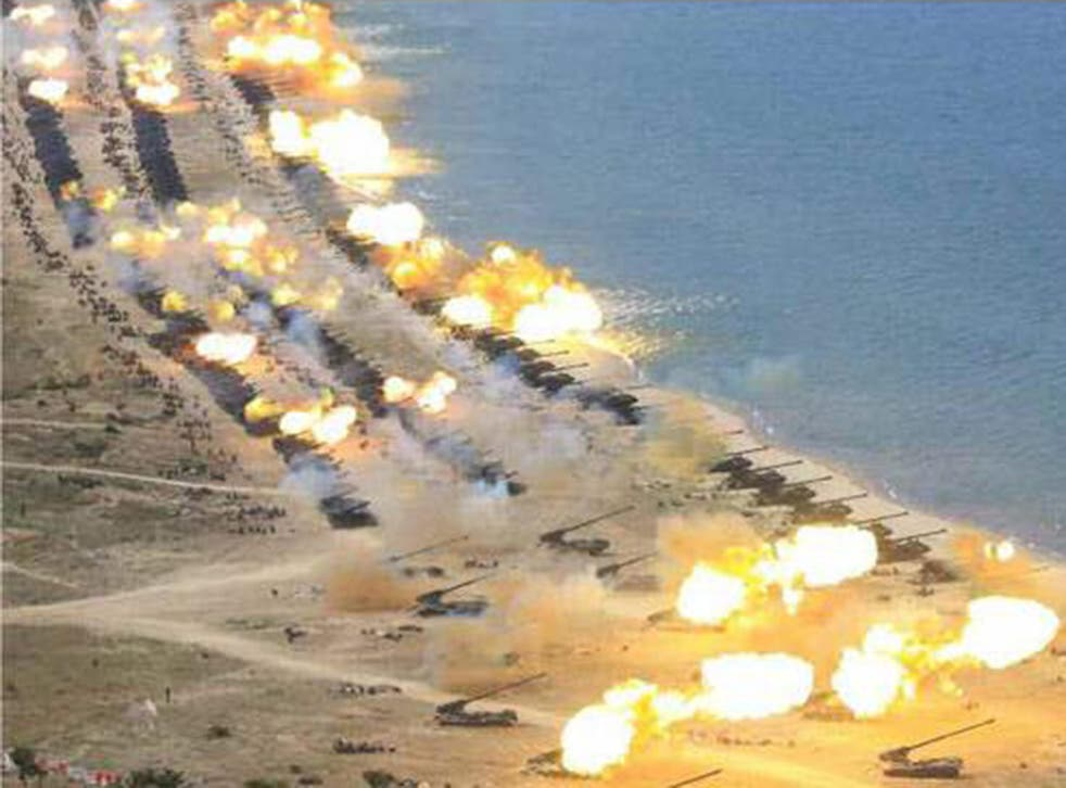 North Korean artillery is seen during anniversary celebrations