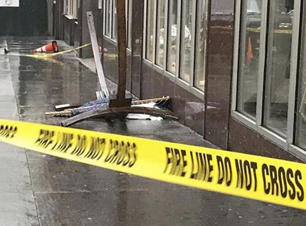A wooden-framed hammock fell from a fifth-floor roof terrace in New York, seriously injuring a British woman