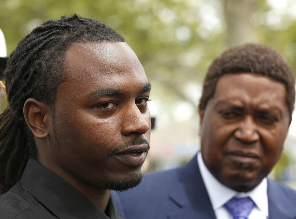 Nandi Cain, left, discusses the beating he received from a Sacramento Police officer