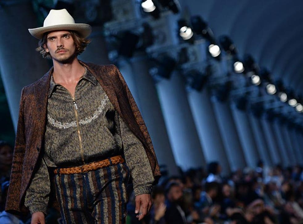 Missoni's cowboys wore desert tones, embroidered shirts and boots cut from buffalo leather