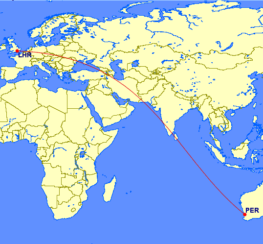 England To Australia Map.Fly Uk To Australia Non Stop With Qantas In Under 16 Hours