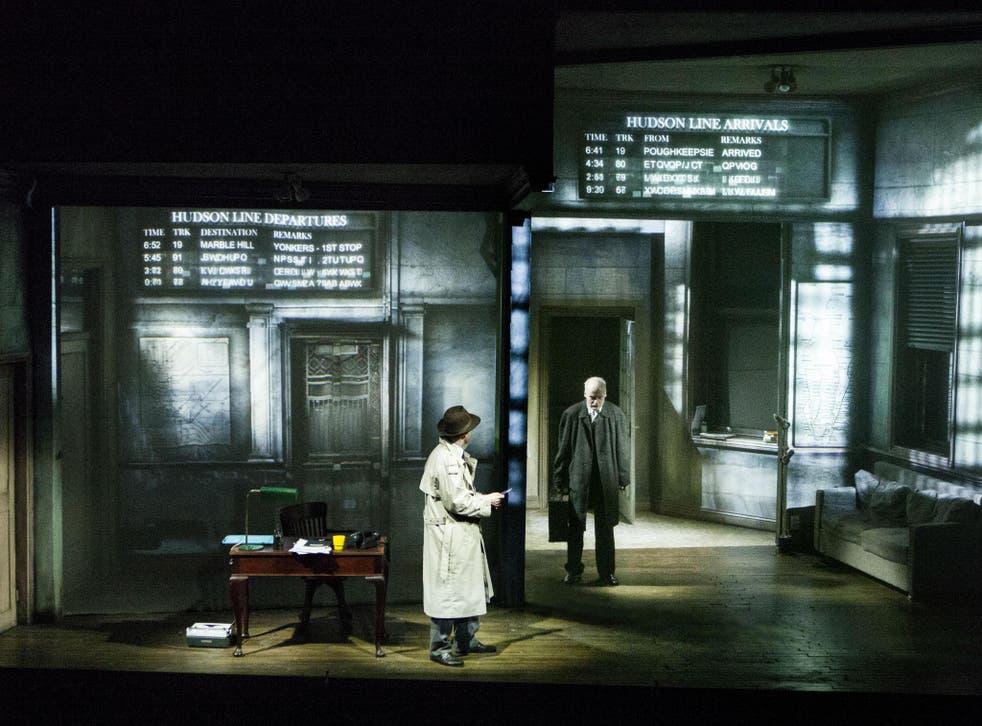 Mark Edel-Hunt (Daniel Quinn) and Jack Tarlton (Stillman) in 'City of Glass' at the Lyric Hammersmith