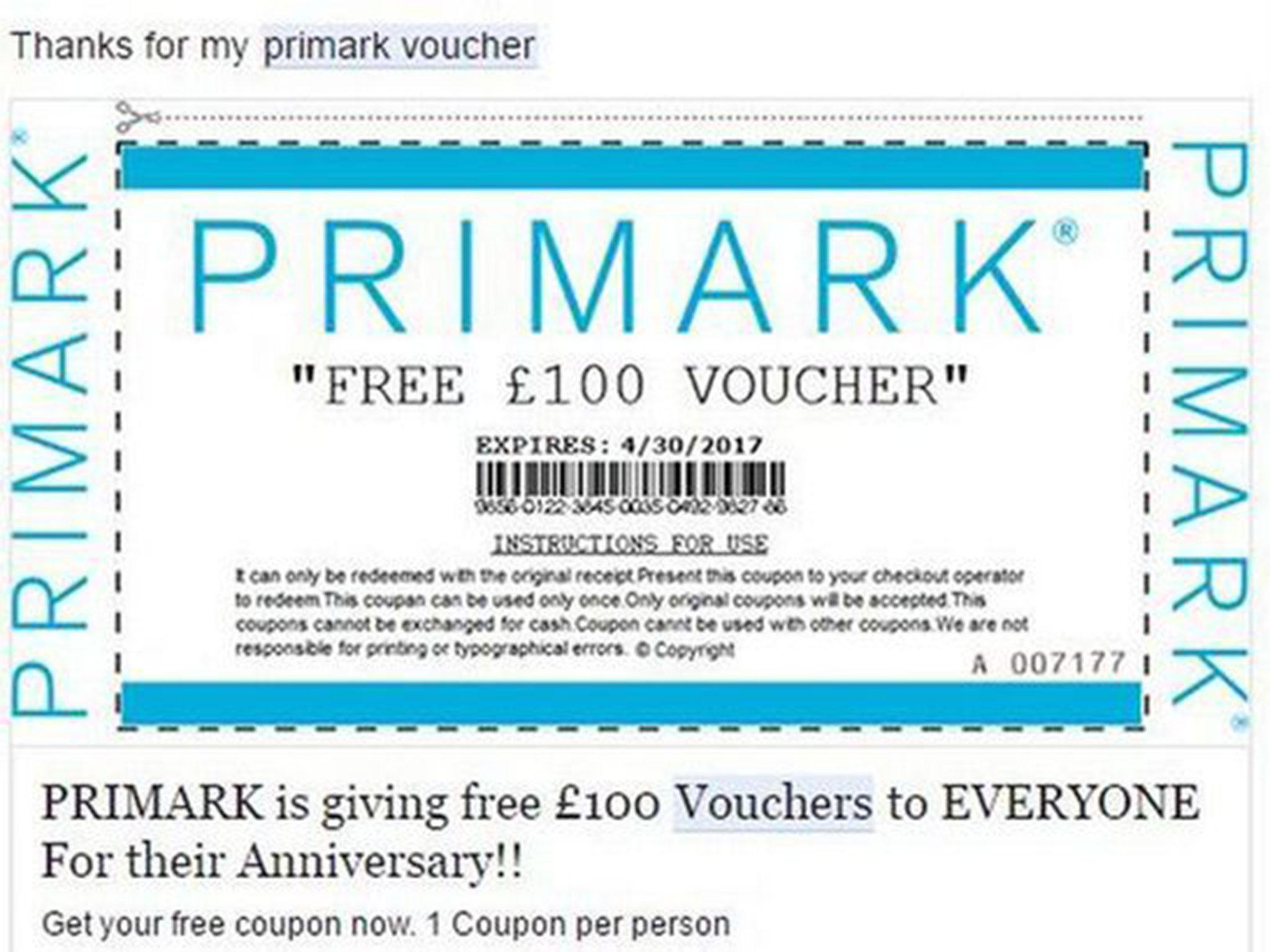 Primark shoppers warned about fake £100 vouchers scam circulating on