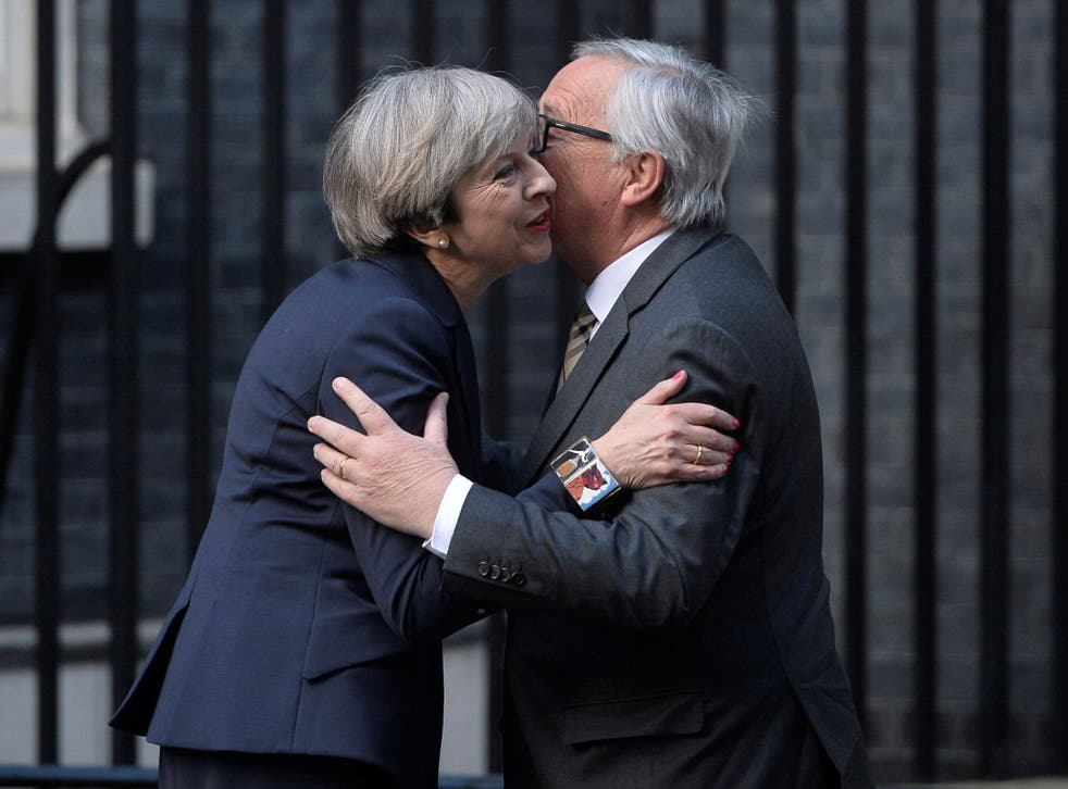 Theresa May held talks with the head of the European Commission, Jean-Claude Juncker, in Downing Street days after calling a general election